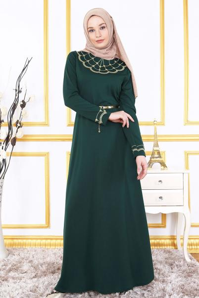 Nakışlı Zümrüt Nakışlı Elbise