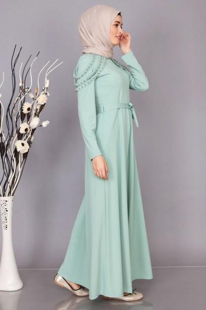 Boydan Omzu İnci Detaylı Elbise Modelleri