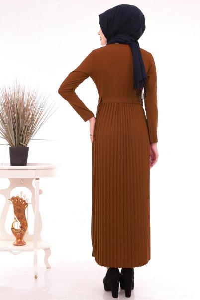 Pileli Kemerli Elbise Kiremit