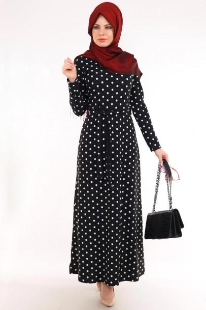 Puantiyeli Elbise Siyah