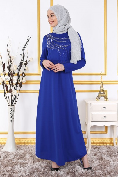 Saks Göğsü İnci Ve Taş Detaylı Elbise