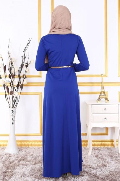 Saks Nakışlı Elbise