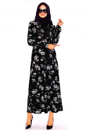 Siyah Baskı Desenli Tesettür Elbise
