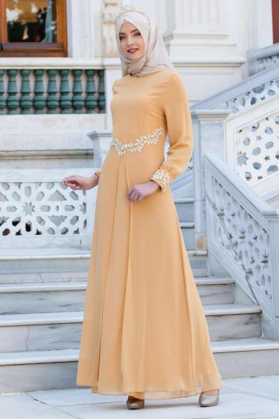 Şifon Abiye Elbise Hardal