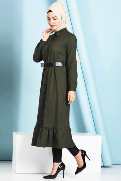 Tesettür Düğmeli Fırfırlı Boydan Haki Elbise
