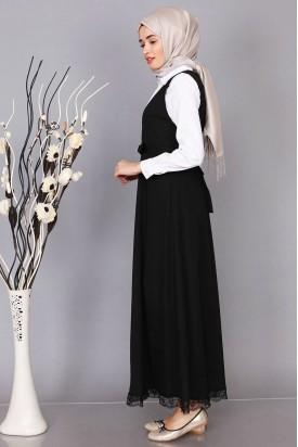 Jile Elbise Siyah Etek Ucu Dantelli