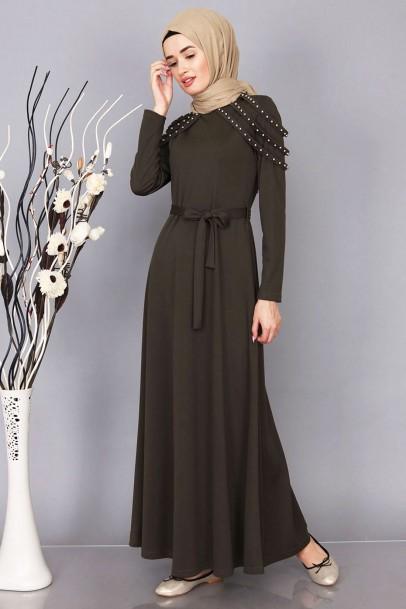 Haki Omuz İnci Detaylı Elbise