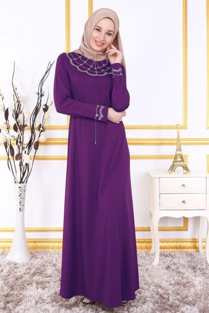 Uzun Mor Nakışlı Elbise