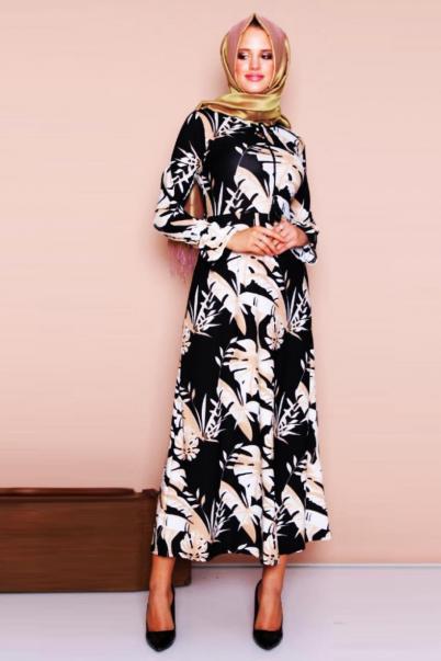 Yaprak Desenli Tesettür Elbise