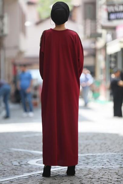 Boydan Ferace Elbise Bordo pul payetli