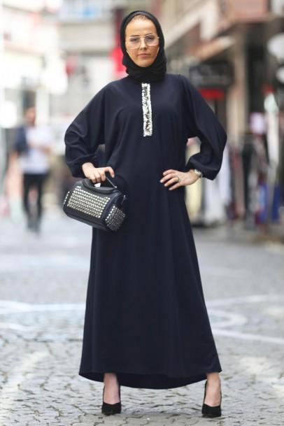 Tesettür Ferace Elbise Lacivert