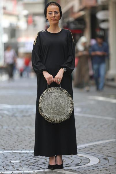 Ferace Elbise Siyah pul payetli