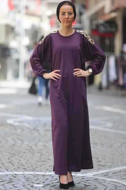 Tesettür Ferace Elbise Mor pul payetli