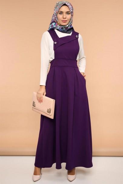 Askılı Jile Pileli Elbise Çapraz Yaka Mor