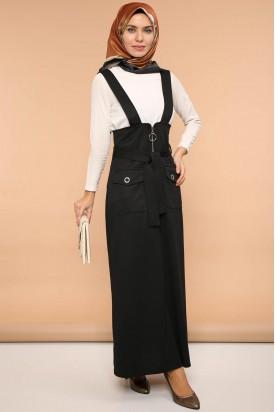 Salopet Askılı Jile Elbise Siyah