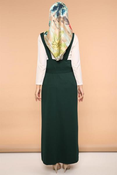 Salopet Askılı Jile Elbise Zümrüt