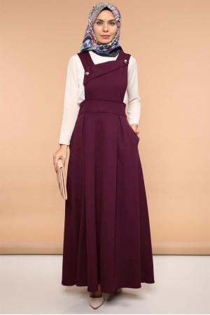 Salopet Askılı Jile Elbise Çapraz Yaka Bordo