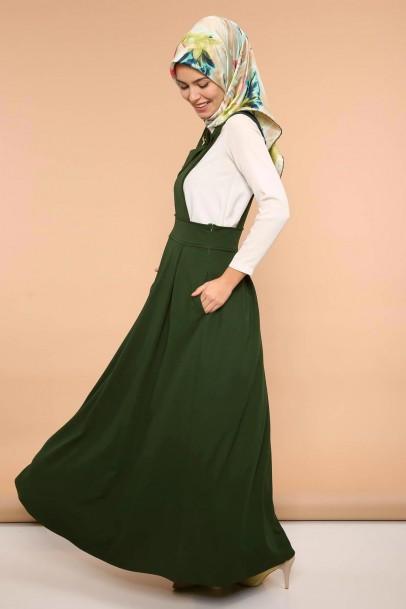 Salopet Askılı Jile Elbise Çapraz Yaka Haki