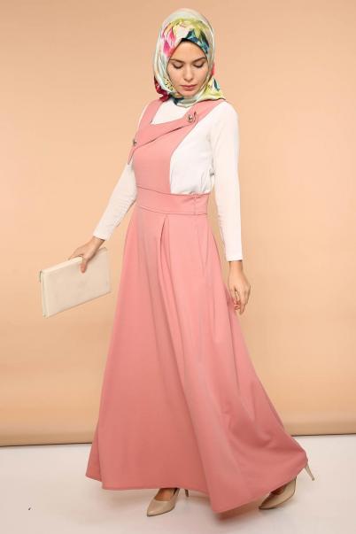 Salopet Askılı Jile Elbise Çapraz Yaka Pudra