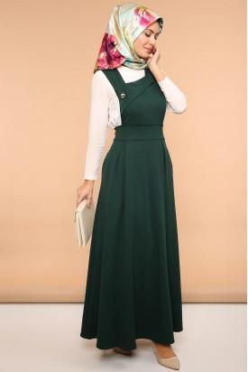 Askılı Jile Pileli Elbise Çapraz Yaka Zümrüt