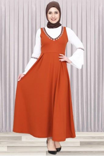 Tesettür Jile Elbise İkili Kombin Kiremit