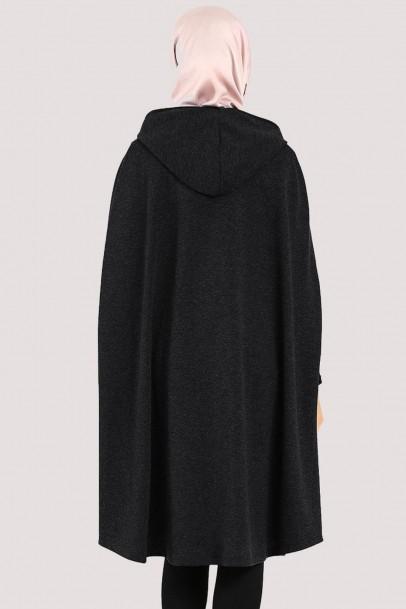 Kapşonlu Panço Fermuarlı Siyah
