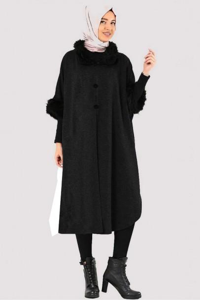 Kadın  Panço Kürk Detaylı Siyah