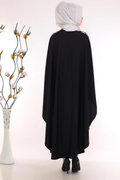 Pul Payet Detaylı Panço Elbise Siyah