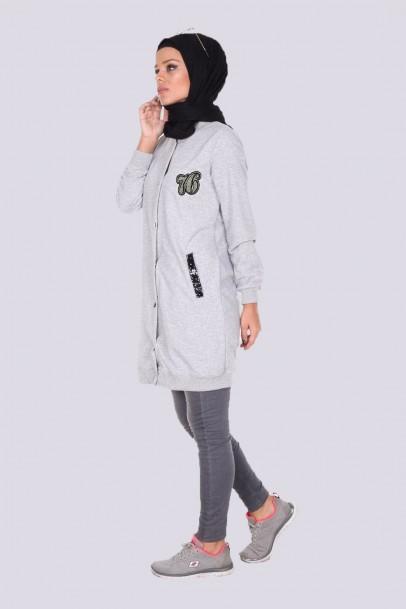 kadın sweatshirt Tunik Cep Detaylı