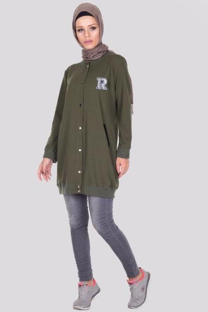 kadın sweatshirt Cep Detaylı Haki Tunik