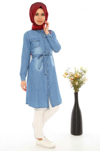 Mavi Kot Tunik Çiçek Nakışlı