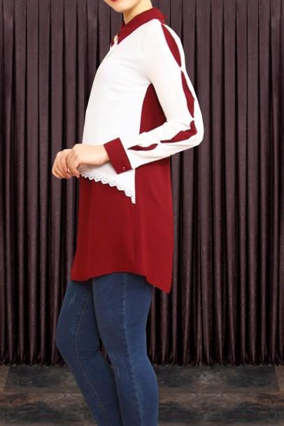 Bordo Beyaz Dantelli Tunik