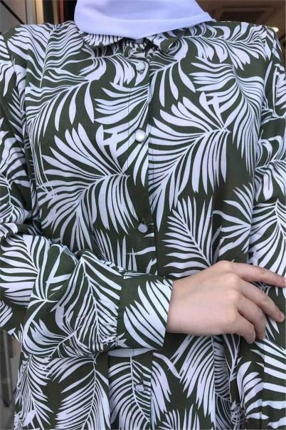 Kadın Haki Gömlek Yaka Uzun Tunik