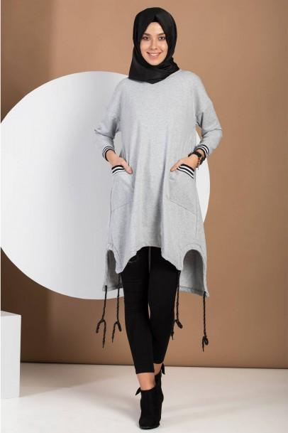 kadın sweatshirt Salaş Spor Tunik Gri
