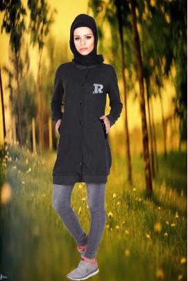 kadın sweatshirt Tunik Cep Detaylı Füme