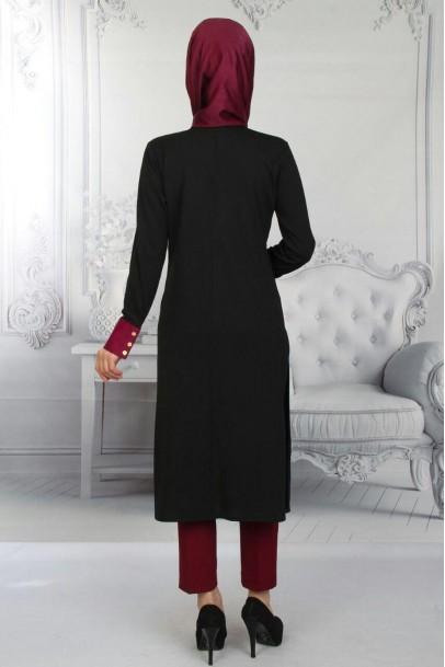 Yırtmaçlı Nakışlı Tunik Siyah