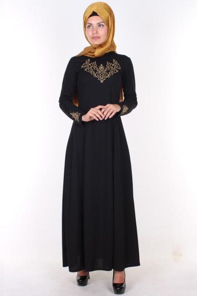 Uzun Siyah  Elbise Nakışlı