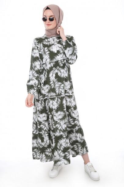 Boydan Palmiye Desen Tesettür Elbise