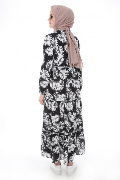 Boydan siyah beyaz Desen Tesettür Elbise