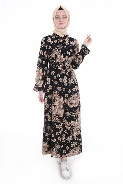Boydan Yazlık Beli Lastikli Elbise