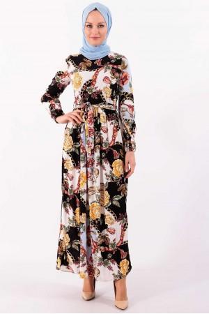 Çiçekli Robalı Yazlık Tesettür Elbise