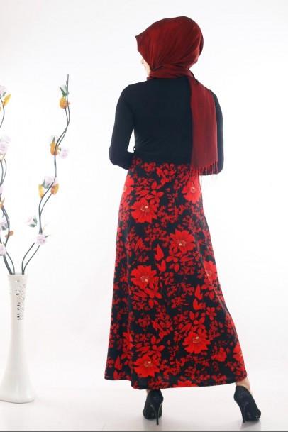 Çiçek Desenli Tesettür Elbise