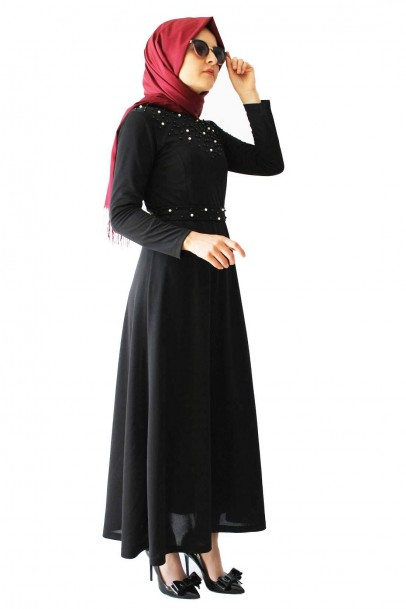 İnci Detaylı Tesettür Siyah Elbise
