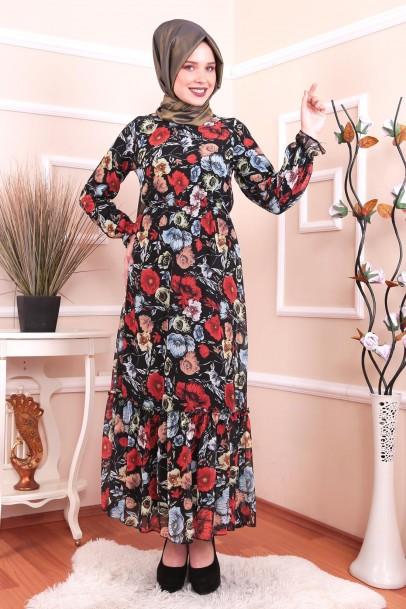 Kadın Elbise Şifon Çiçekli