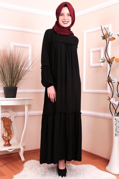 Robadan Tesettür Elbise Siyah