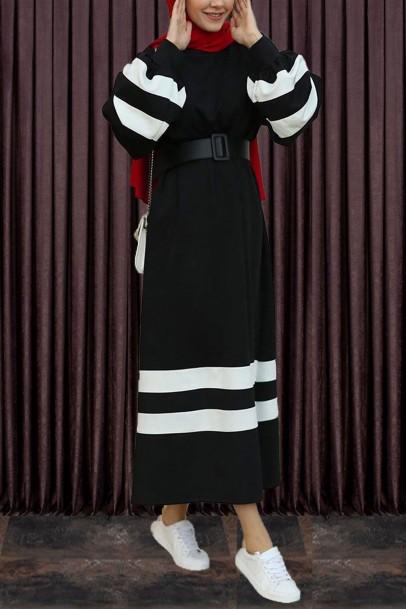 Tesettür Elbise Balon Kol Şeritli Siyah