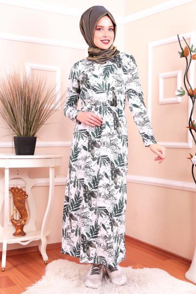 Yazlık  Palmiye Desen Tesettür Elbise