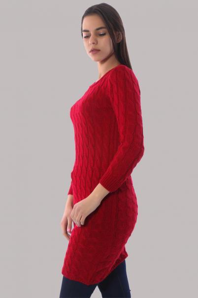 Triko Elbise Bisiklet Yaka Kırmızı