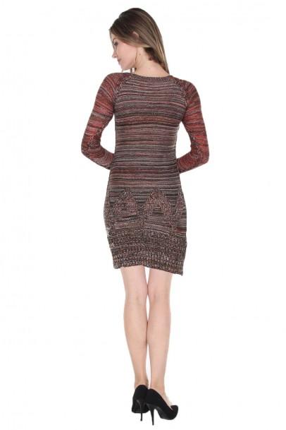 Bordo Siyah Kırçıllı Bayan Triko Elbise