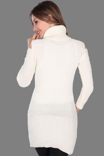 Triko Elbise Kemik Omuz Detaylı